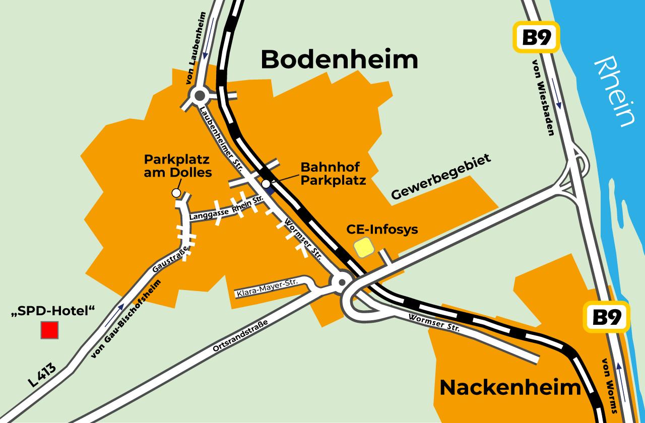 Standorte geplantes Hotel Bodenheim